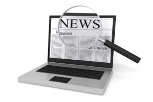 graphic: reading news on laptop