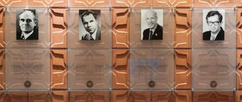 Plaques honoring the college's Nobel Laureates are on display in the lobby of Latimer Hall.