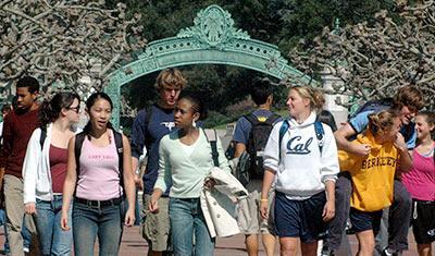 Students at Sather Gate, photo by Peg Skorpinski