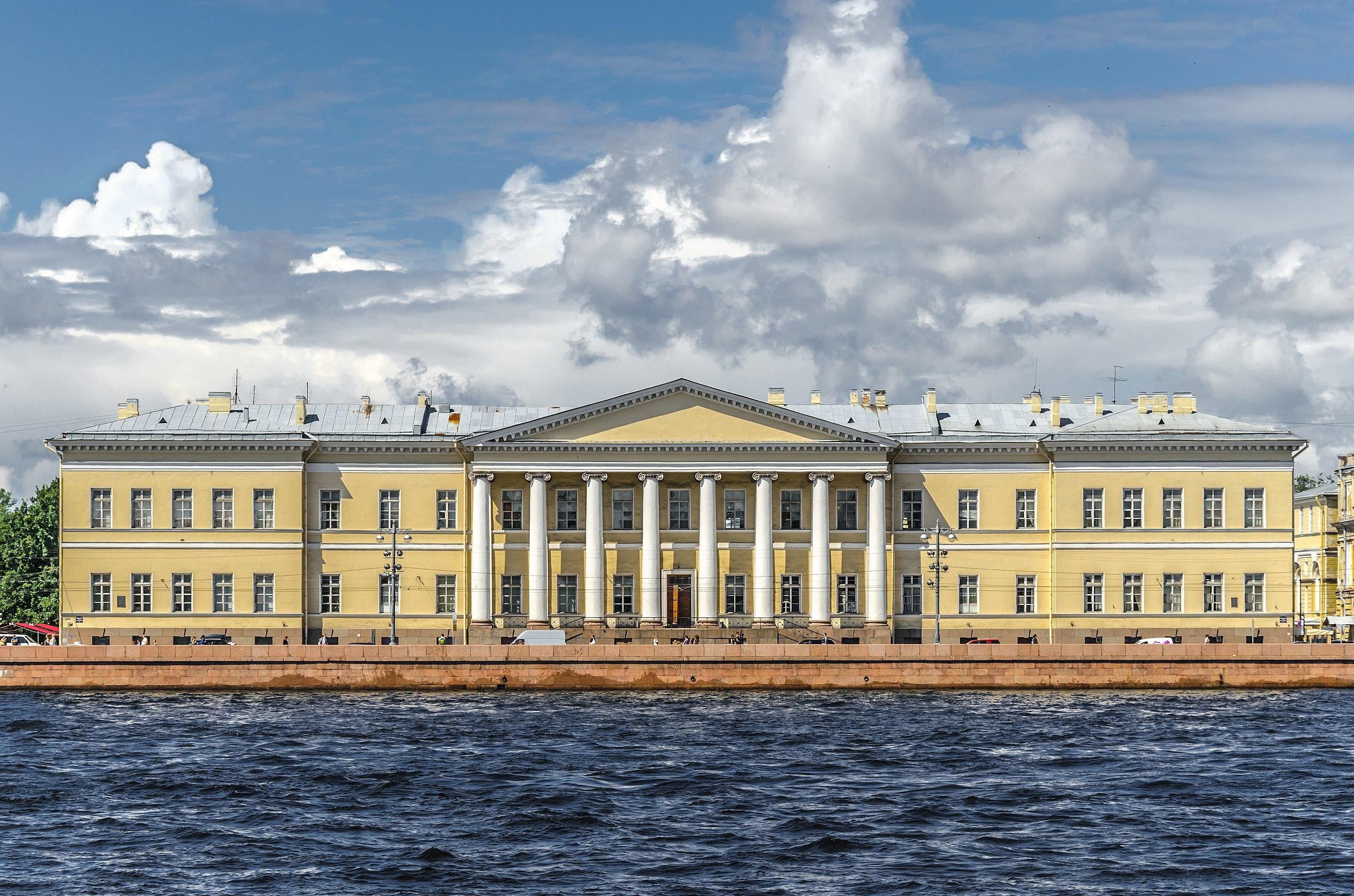 The building of the Imperial Academy of Sciences in Saint Petersburg on Universitetskaya Embankment