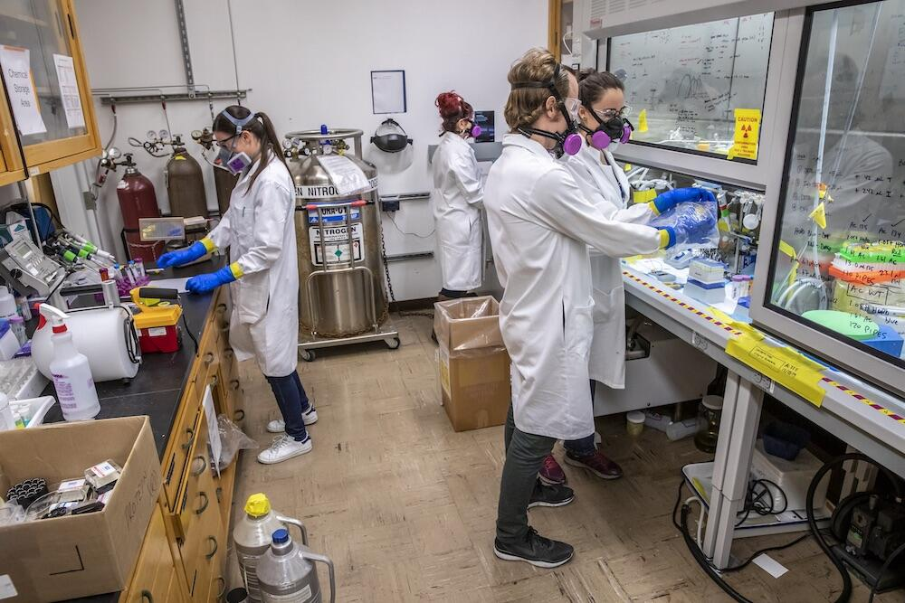 Research team members in the lab