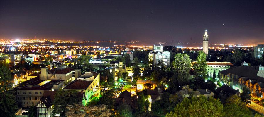 UC Berkeley campus at night. Photo by Keegan Houser.