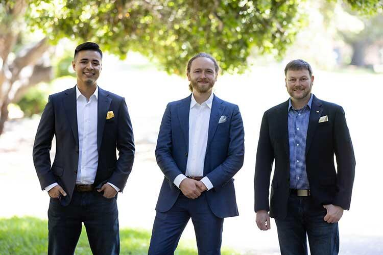 chemistry alumni Geo Guillen, left, and Marco Lobba, middle, launched Catena Biosciences with Berkeley chemistry professor Matthew Francis.
