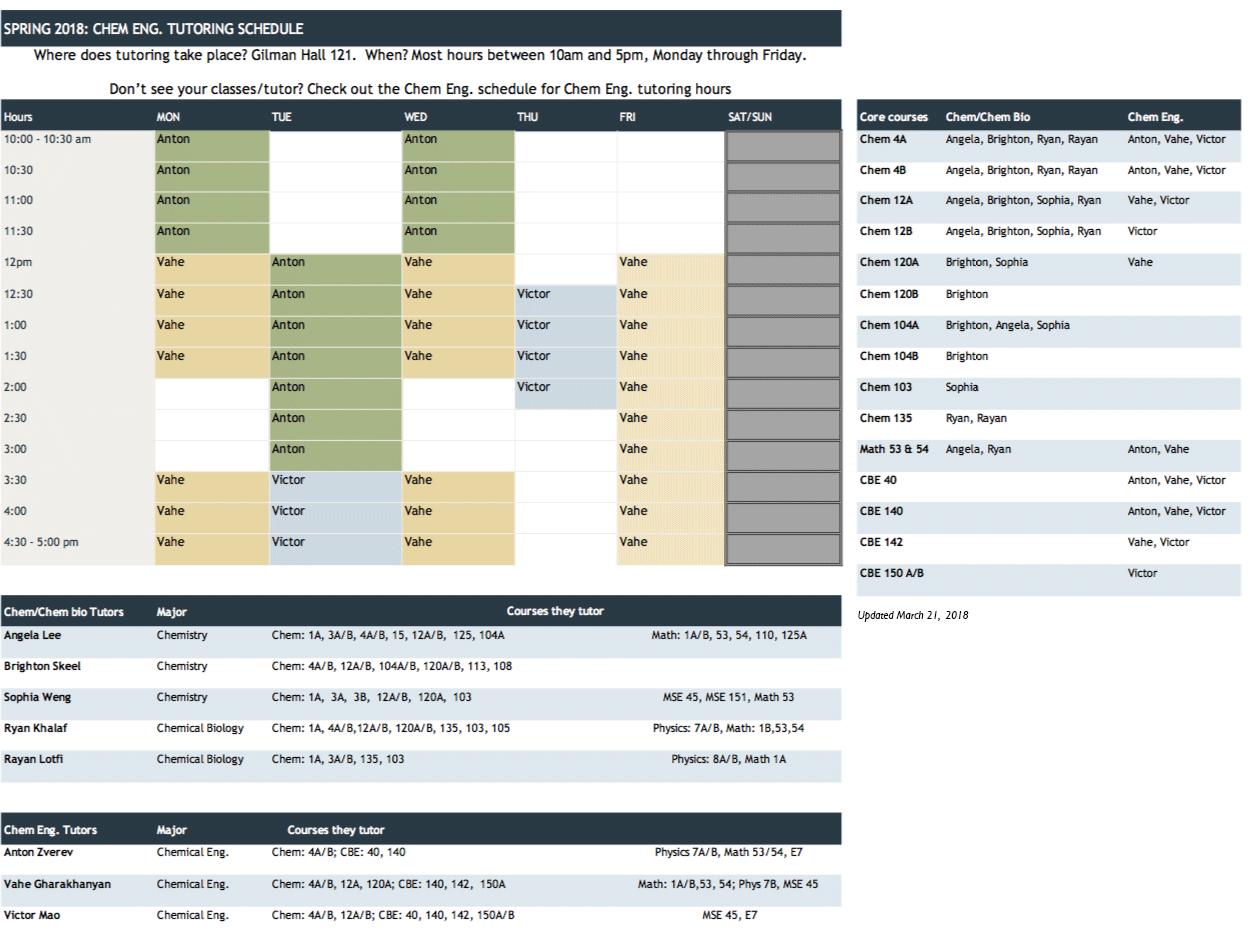 CBE tutoring schedule 2018