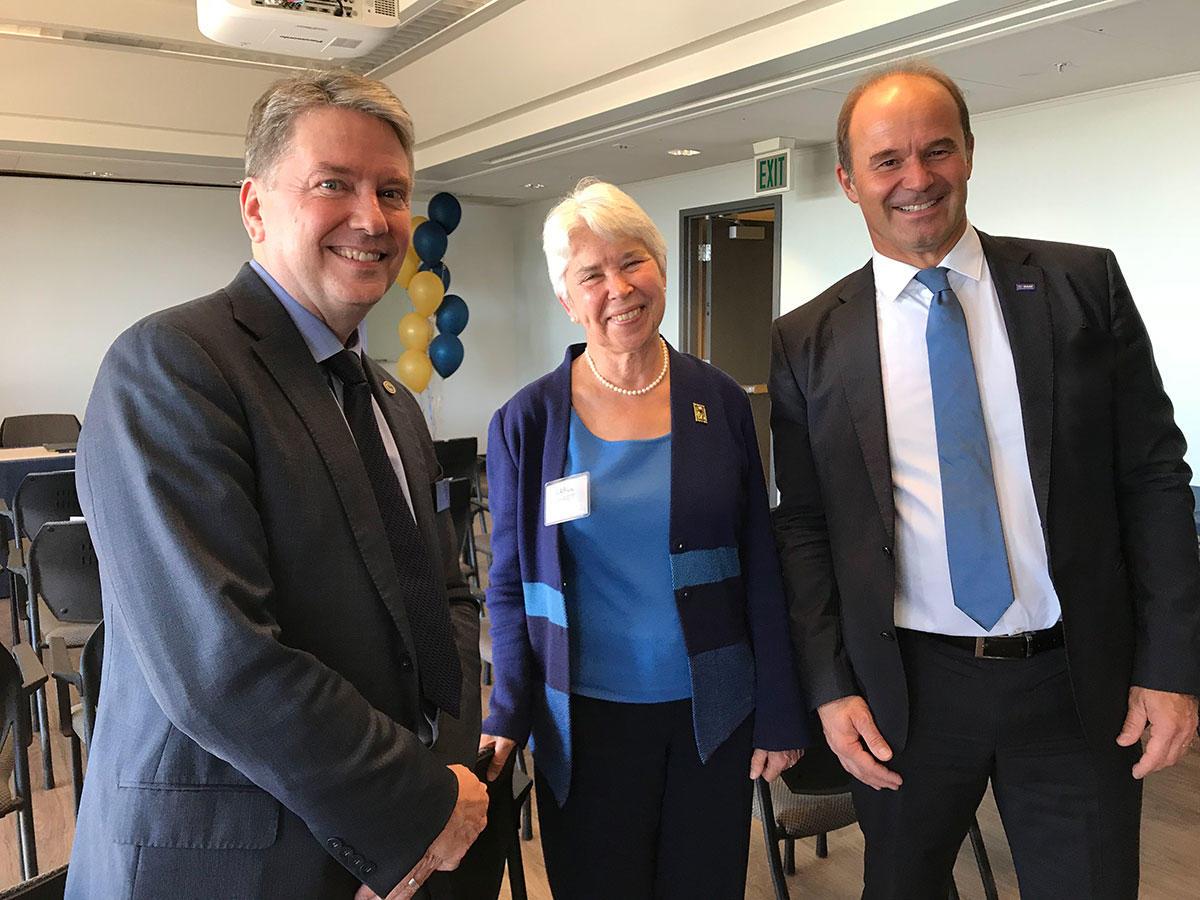 Douglas Clark, Carol Christ & Martin Brudermuller at the signing event