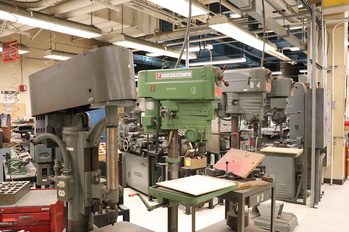Historic drill presses machine shop