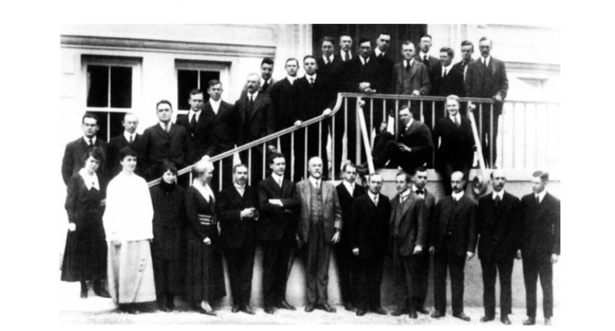 1917, chemistry faculty in front of Gilman Hall