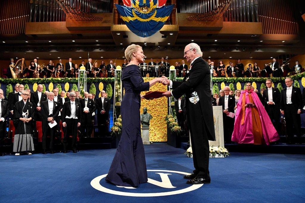 Dr. Arnold receiving the Nobel Prize from King Carl XVI Gustaf of Sweden in December 2018 in Stockholm. Credit Henrik Montgomery/Agence France-Presse — Getty Images