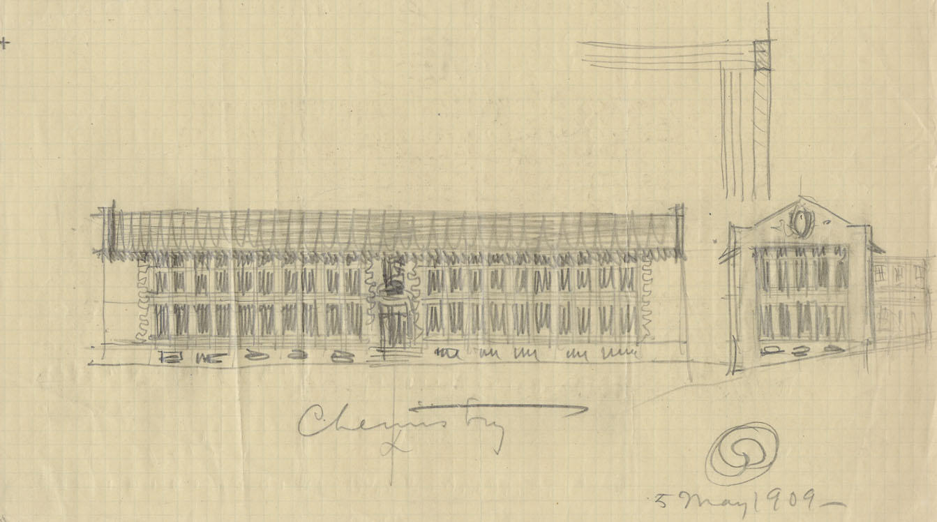 Gilman hall 1909 concept sketch