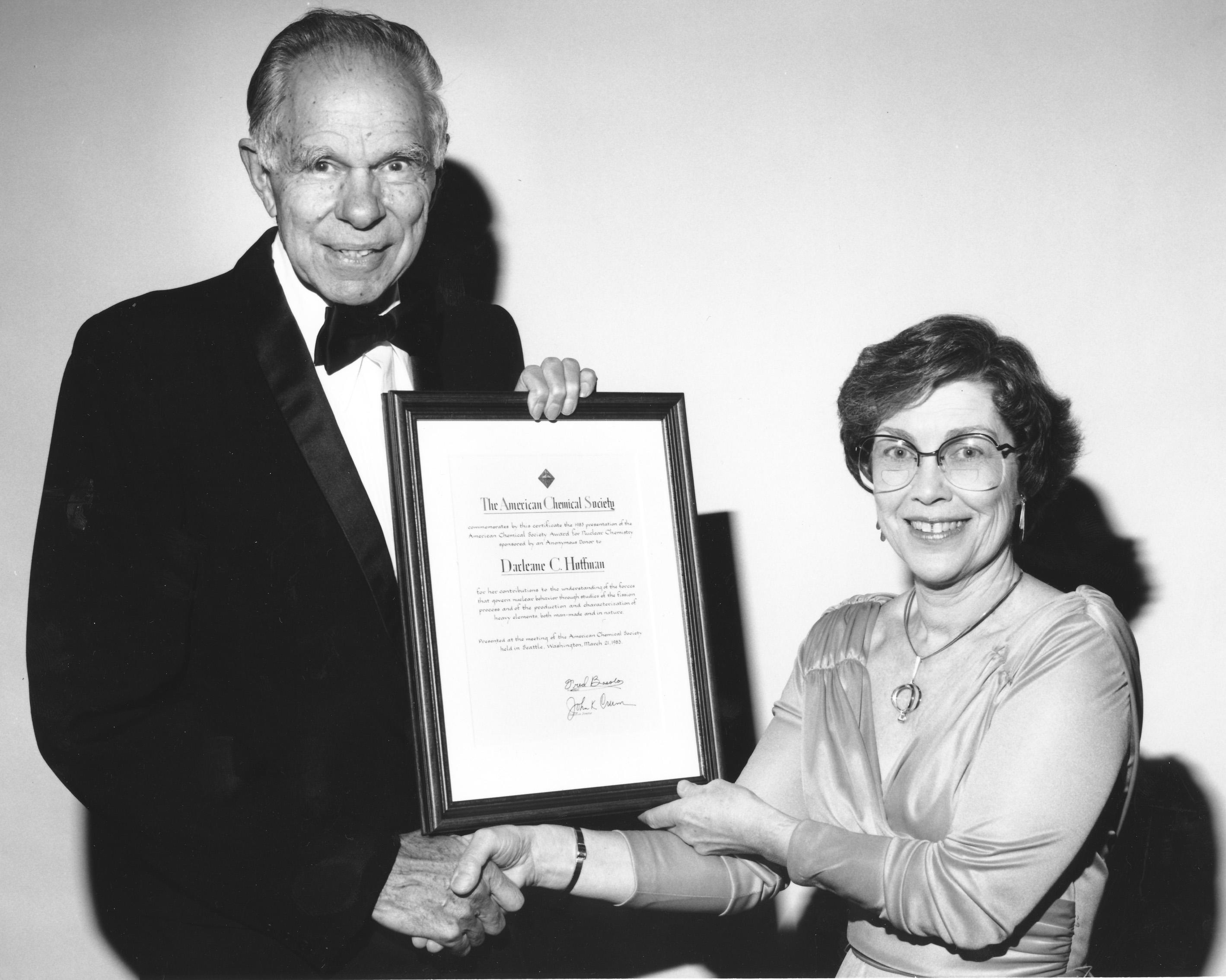 American Chemical Society Award for Nuclear Chemistry Presented by Dr. Glenn T. Seaborg to Dr. Darleane C. Hoffman