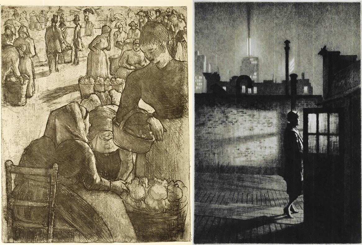 """""""Marche aux Legumes a Pointose"""" by Camille Pissarro, and """"Little Penthouse"""" by Martin Lewis"""