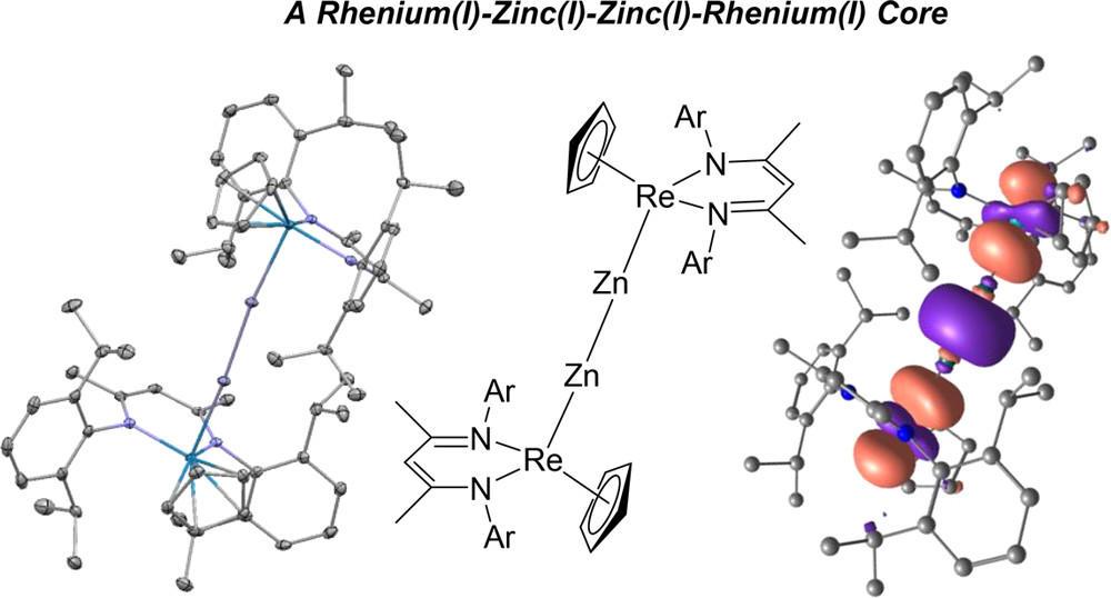 Heterotetrametallic Re–Zn–Zn–Re Complex Generated by an Anionic Rhenium(I) β-Diketiminate