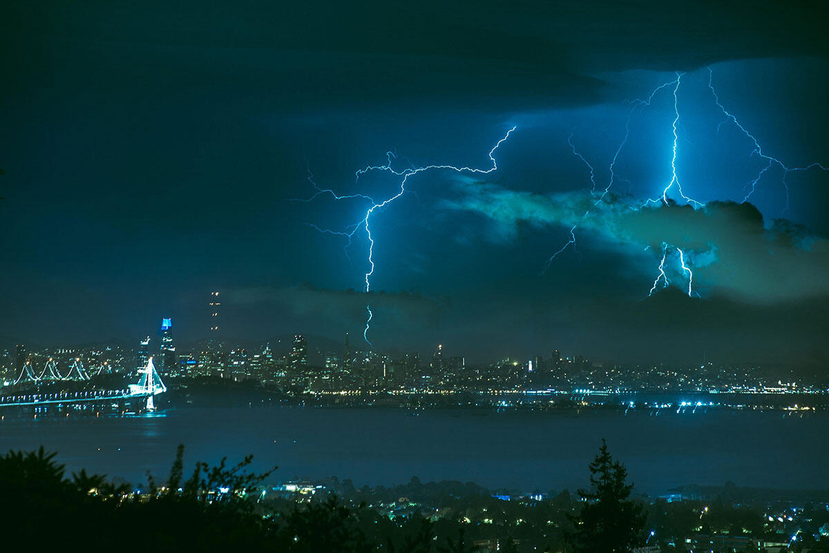 Lightning strikes San Francisco as seen from Berkeley on August 16, 2020
