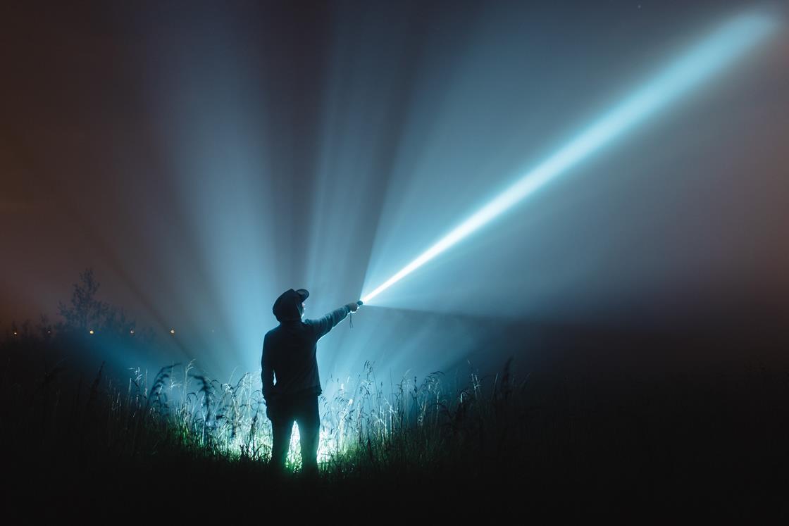 Man with blue light
