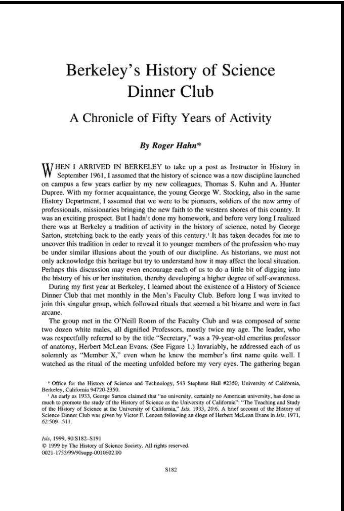 Berkeley History of Science Club link