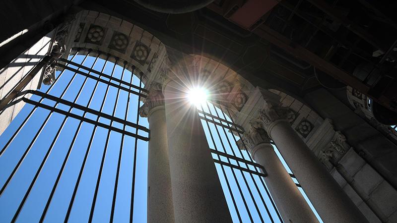 Light comes through the campanile