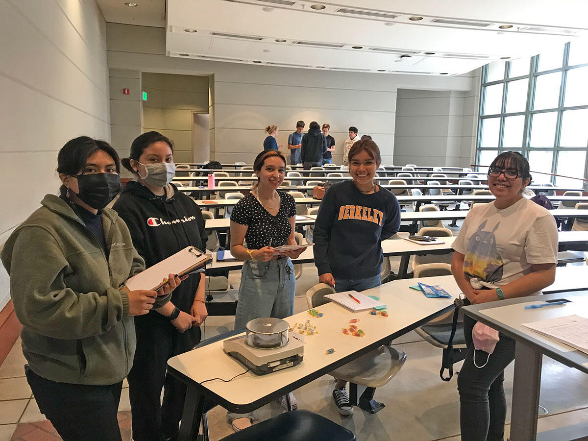 Students prepare to weigh jolly rogers in class