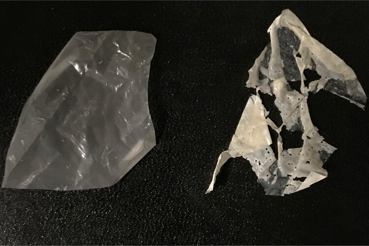 Example of degraded plastic after process