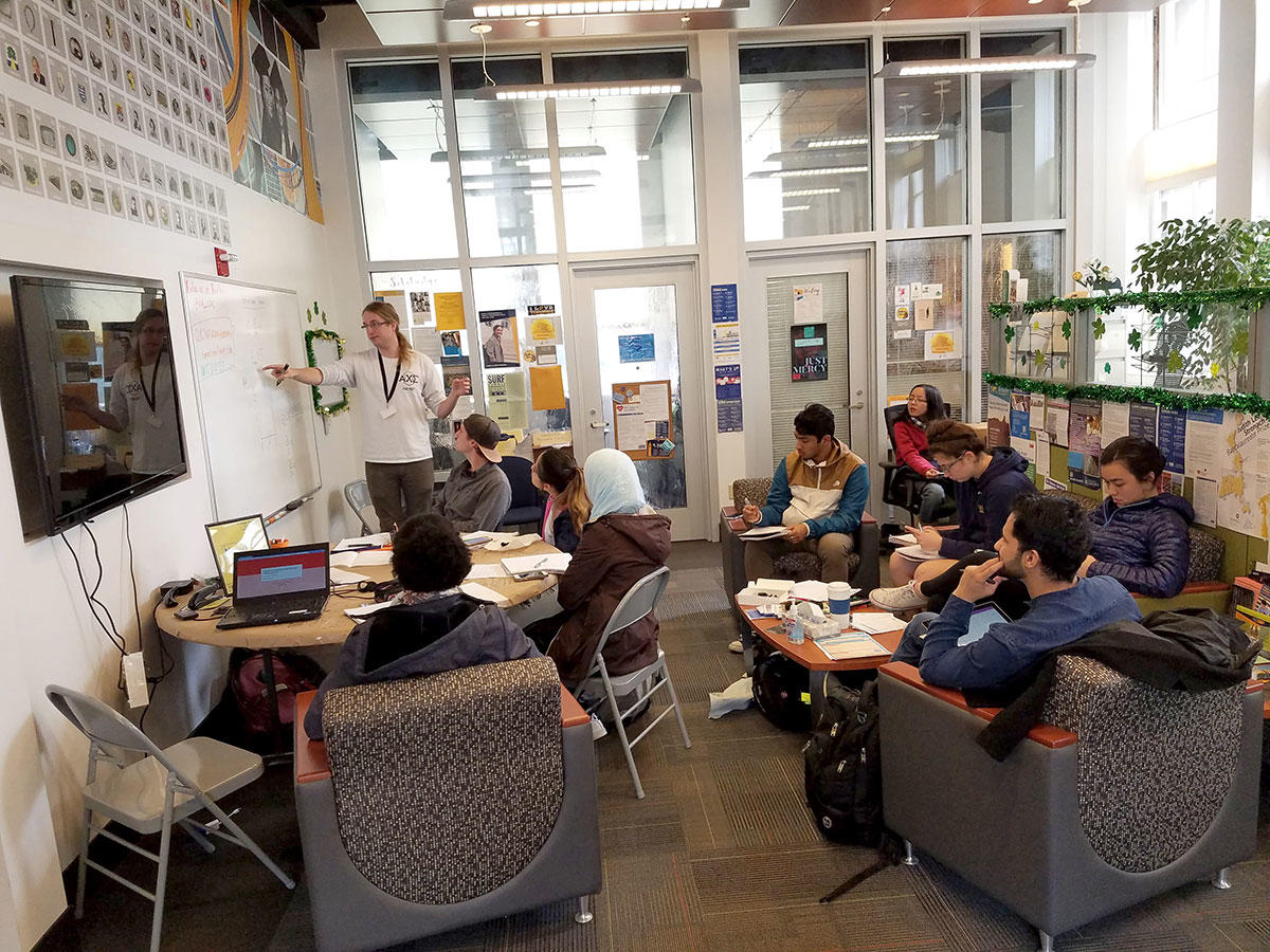 Students attend a tutoring session