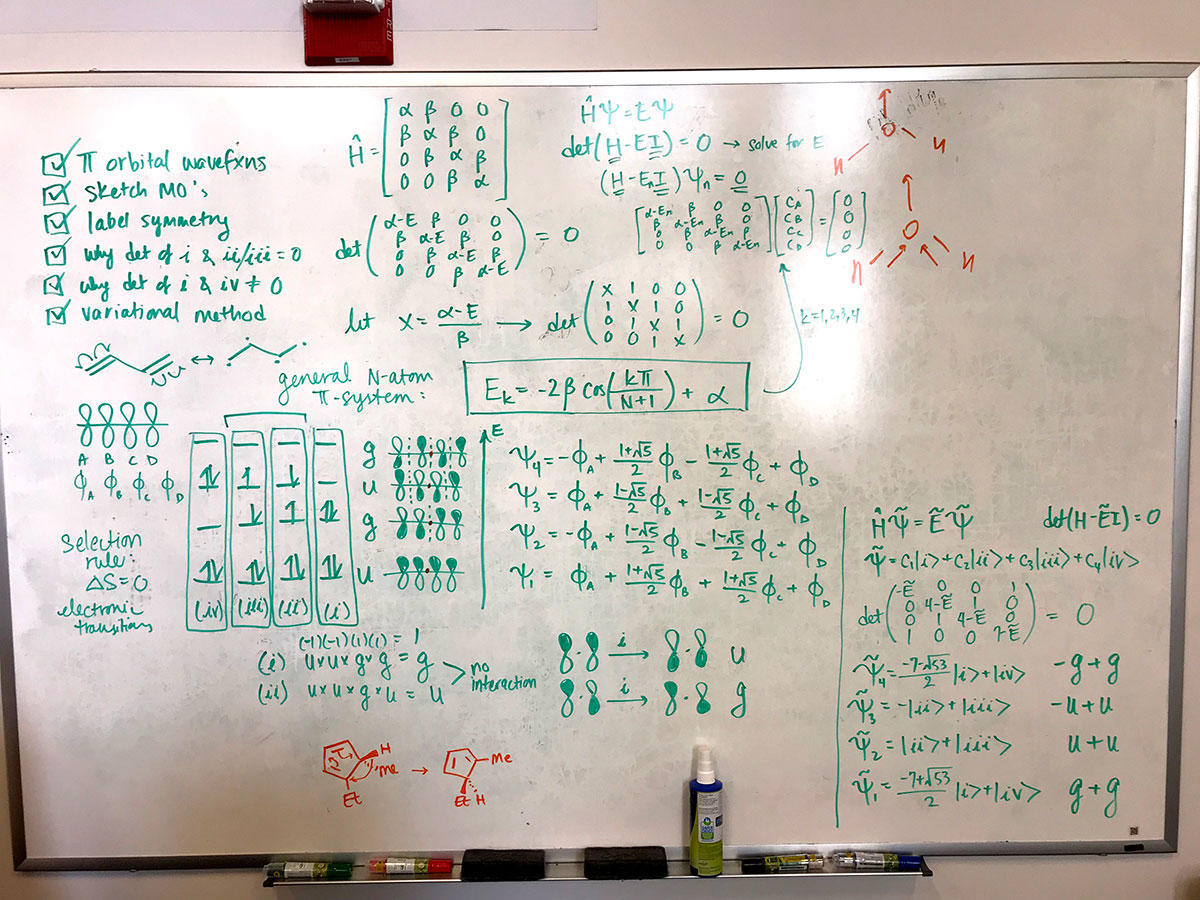 Board full of equations created during tutoring sessions