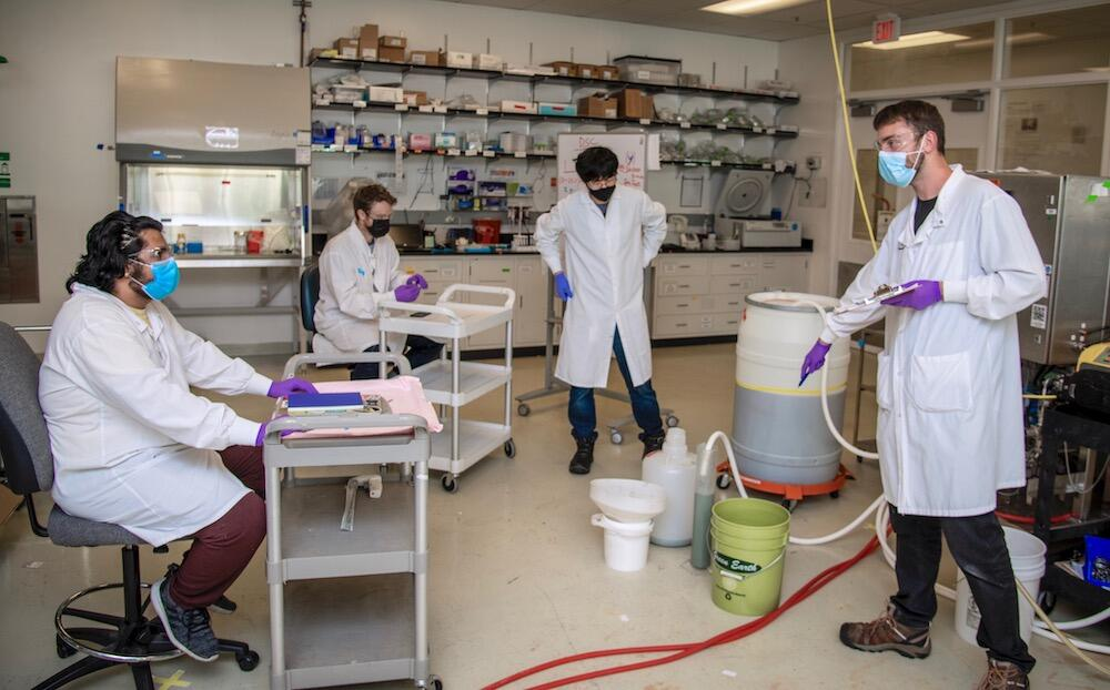 Vedant Vaidya (far left, seated), and Nathaniel Kemmerer (middle left, seated), both UC Berkeley chemical engineering students, listen to ABPDU scientists Asun Oka (center right, standing) and Jan-Philip Prahl (far right, standing).
