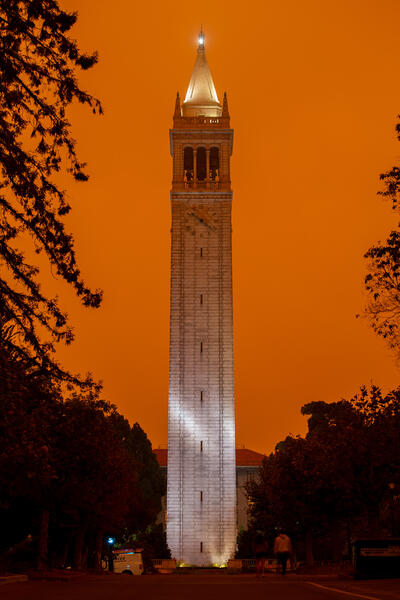 Photo of campanile with orange sky