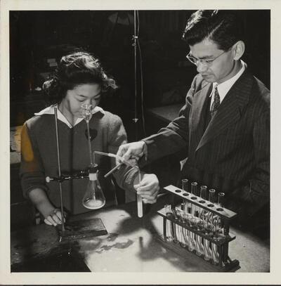 Kaoru Inouye teaches chemistry at Heart Mountain, World War II
