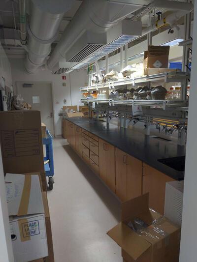 Unpacking at the new lab at Berkeley
